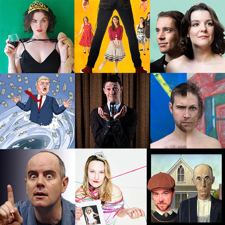 Just a few of the shows at the Georgia Straight Fringe-For-All! From left to right, top to bottom: Almost a Stepmom; Cry-Baby: The Musical; Your Princess is in Another Castle; Draining the Swamp; Fifty Shades of Dave; Naturally; Teaching Shakespeare; Alternate Endings; Ain't True & Uncle False.