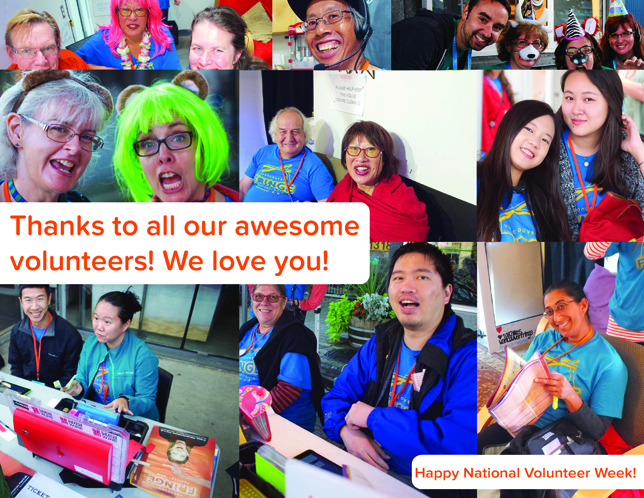 Thanks to all our awesome volunteers! Happy National Volunteer Week. Photos by Clayton Wong, Adrian Nickpour, Mike Vlasman, and Sunny Kim.