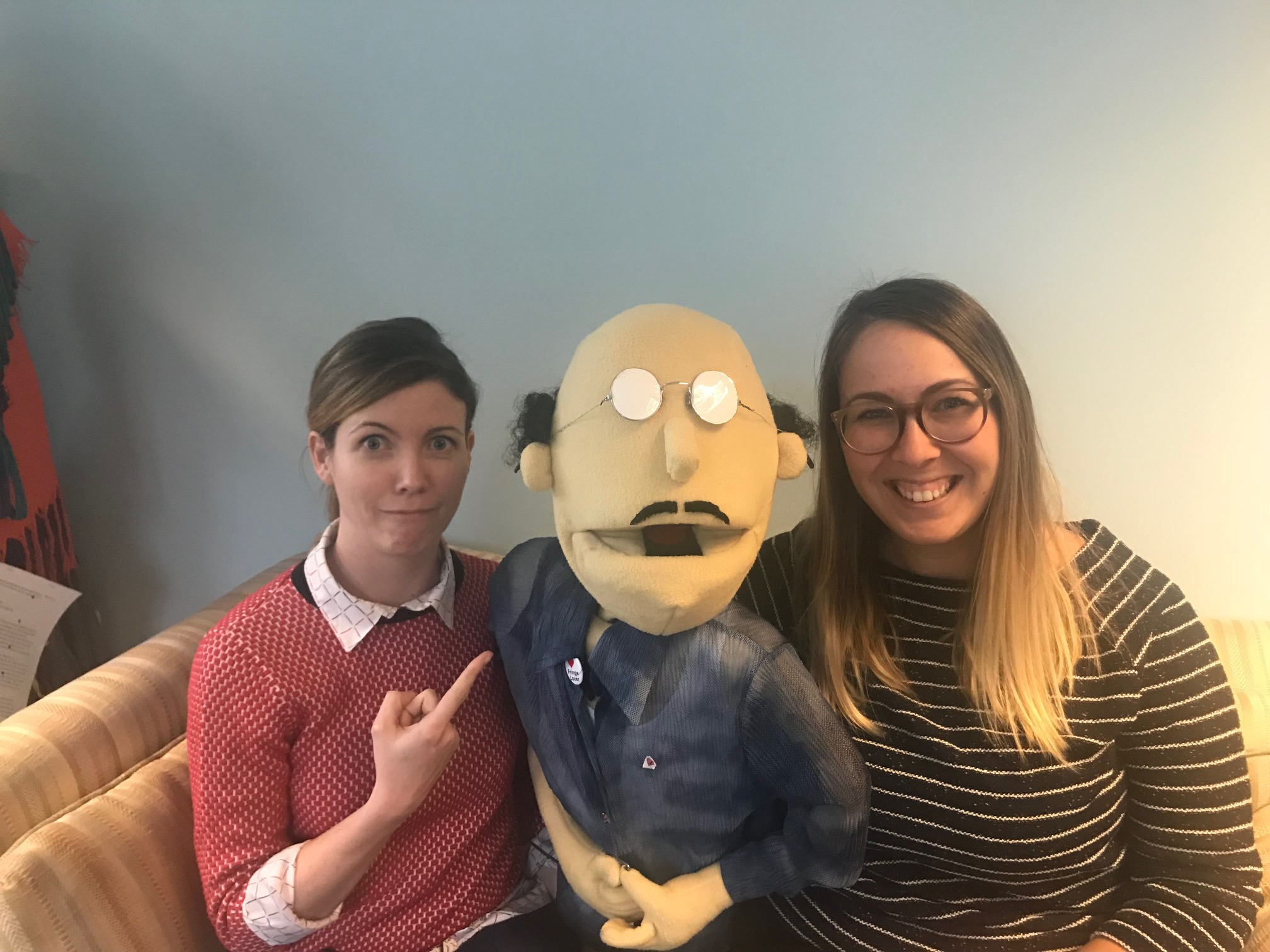 Jimmy (centre) welcomes Chelsey (left) and Samantha (right) to the Fringe team.