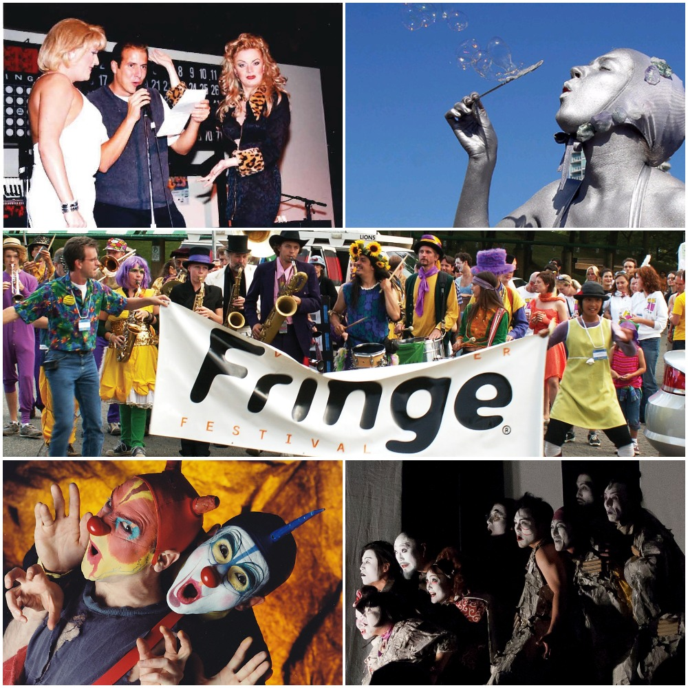 A collage of photos throughout the Fringe's history. Top left photo: a man stands between two drag queens, holding a mic and a piece of paper. Top right: A person painted in silver paint blowing bubbles. Middle: a group of people walking, some of them with woodwind instruments and drums. Bottom left: two people look at the camera deviously. One of them looks to have little devil horns coming out of their head, and the other one with a single blue horn. They both look painted to be like clowns. Bottom right: Eight people look to the left, their faces well-lit. Their faces are painted to recall traditional Japanese theatre. Caption: Make this the best Fringe birthday ever by donating to the 35 for 35 campaign!