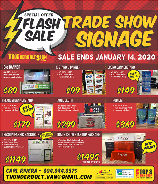 A flyer featuring various deals on banners, trade show displays, etc. Need signage? Thunderbolt Sign is offering Fringers a deal!