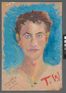 Self-portrait by Tennessee Williams, Harry Ransom Center, the University of Texas at Austin.